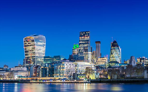 City of London Downtown Skyline at twilight, United Kingdom stock photo