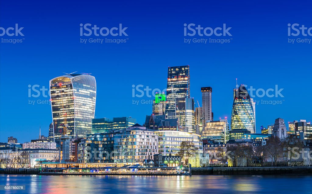 City of London Downtown Skyline at twilight, United Kingdom stock photo