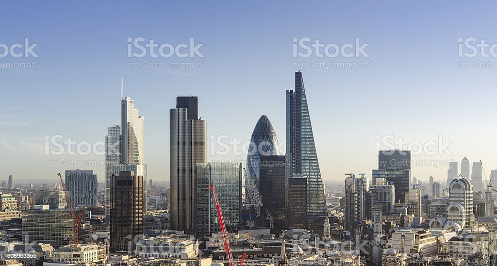 City of London financial district skyscrapers stock photo