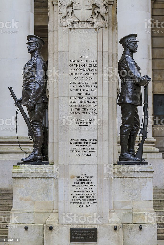 City of London, First World War Memorial, UK royalty-free stock photo