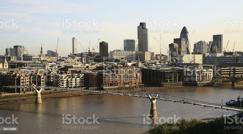 City of London from Bankside royalty-free stock photo