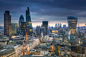 London, UK  - January 27, 2015:  City of London, business and banking area. London's panorama at sun set. View from the St. Paul cathedral
