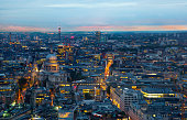 City of London, business and banking area. London's panorama at sun set.