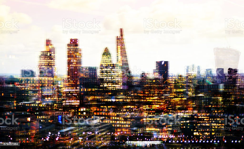 City of London multiple  exposure image includes skyscrapers of business district at sunset. UK royalty-free stock photo