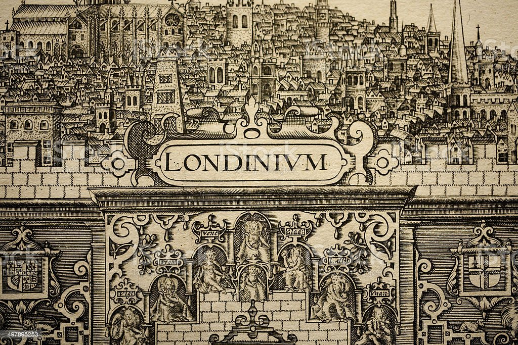 City of London Pen & ink illustration (C1604) stock photo