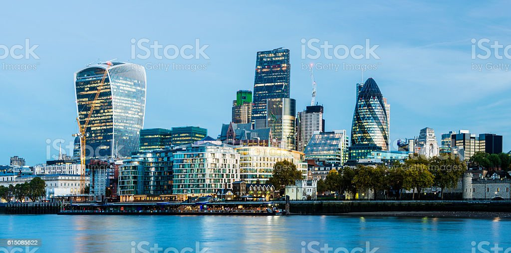 City of London Skyline at Twilight in United Kingdom stock photo