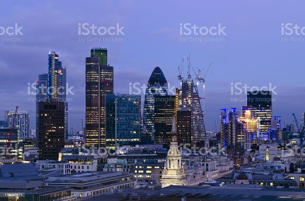 City of London skyscrapers at Dusk stock photo