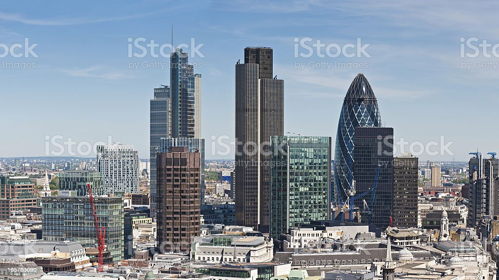 City of London skyscrapers Square Mile landmarks royalty-free stock photo