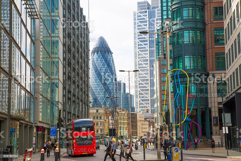 City of London street with Gherkin building stock photo