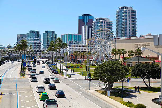 City of Long Beach Panorama of City of Long Beach, California long beach california stock pictures, royalty-free photos & images
