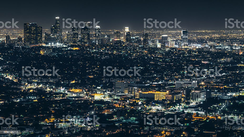 City of Los Angeles at night stock photo