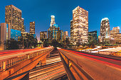 City of Los Angeles California at night with light trails