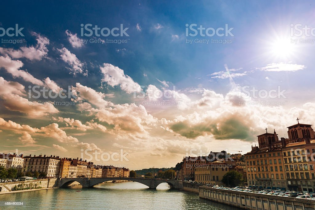 City of Lyon, France on sunny day stock photo