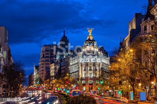 Madrid downtown cityscape at night, capital of Spain, Calle de Alcala street in the city centre.