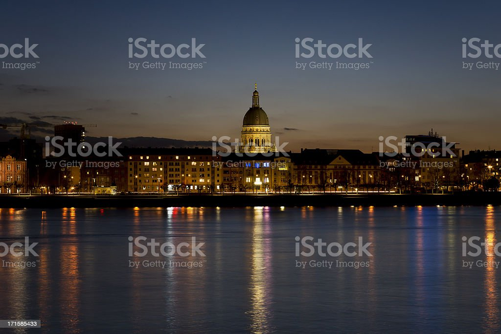 City of Mainz, view over River Rhine at dusk stock photo