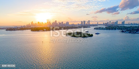 istock City of Miami Florida Aerial Sunset View Biscayne Bay 636185330