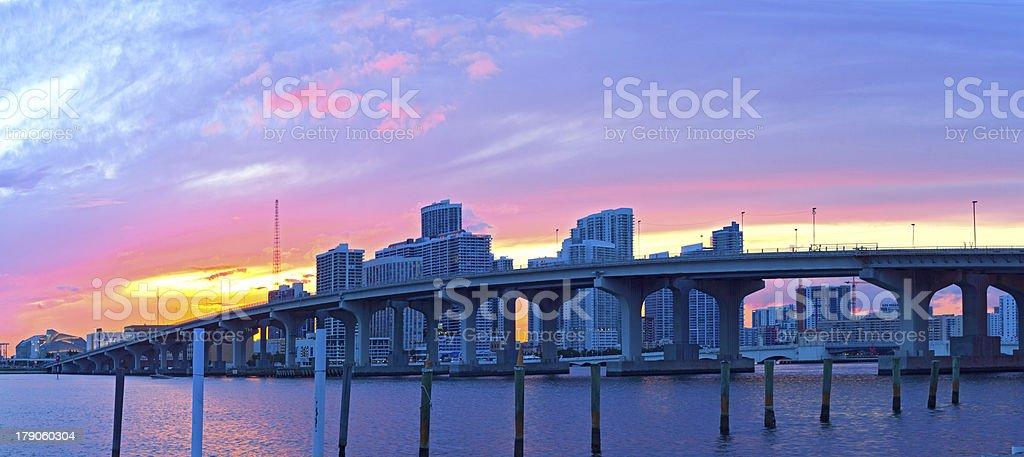 CIty of Miami Florida, USA, summer sunset panorama royalty-free stock photo