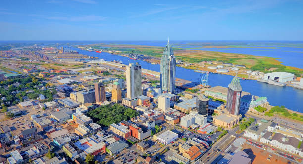 City of Mobile, Alabama Aerial photos of downtown Mobile alabama stock pictures, royalty-free photos & images