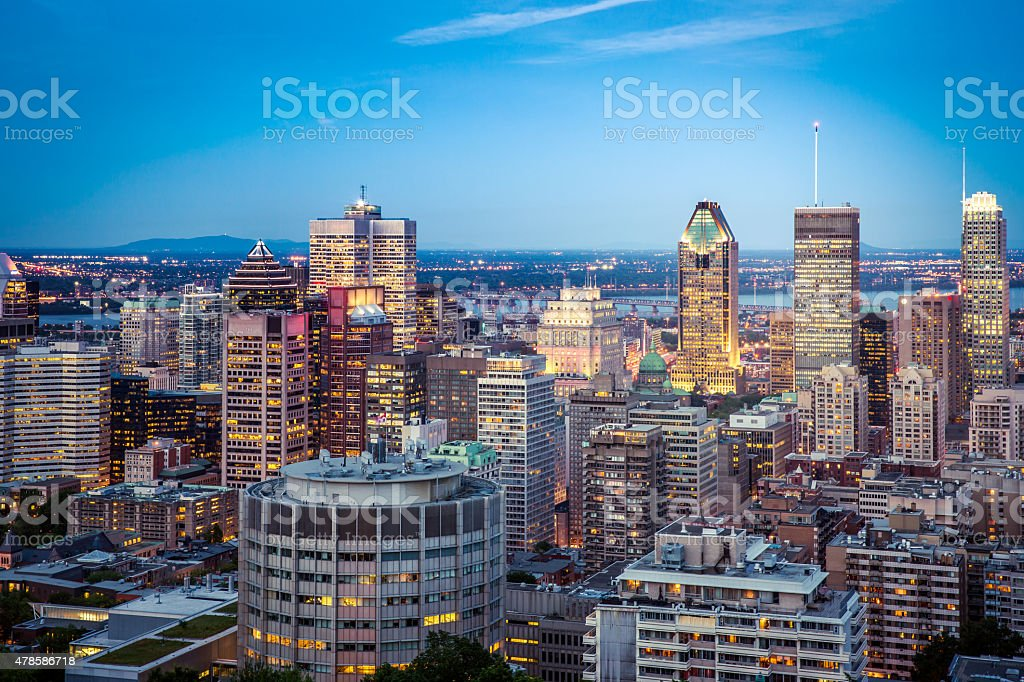City of Montreal cityscape at sunset stock photo