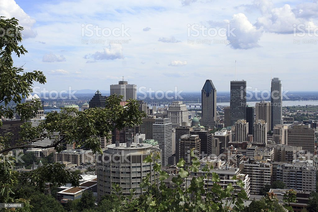 City of Montreal View From Mount Royal Belvedere in Summer royalty-free stock photo