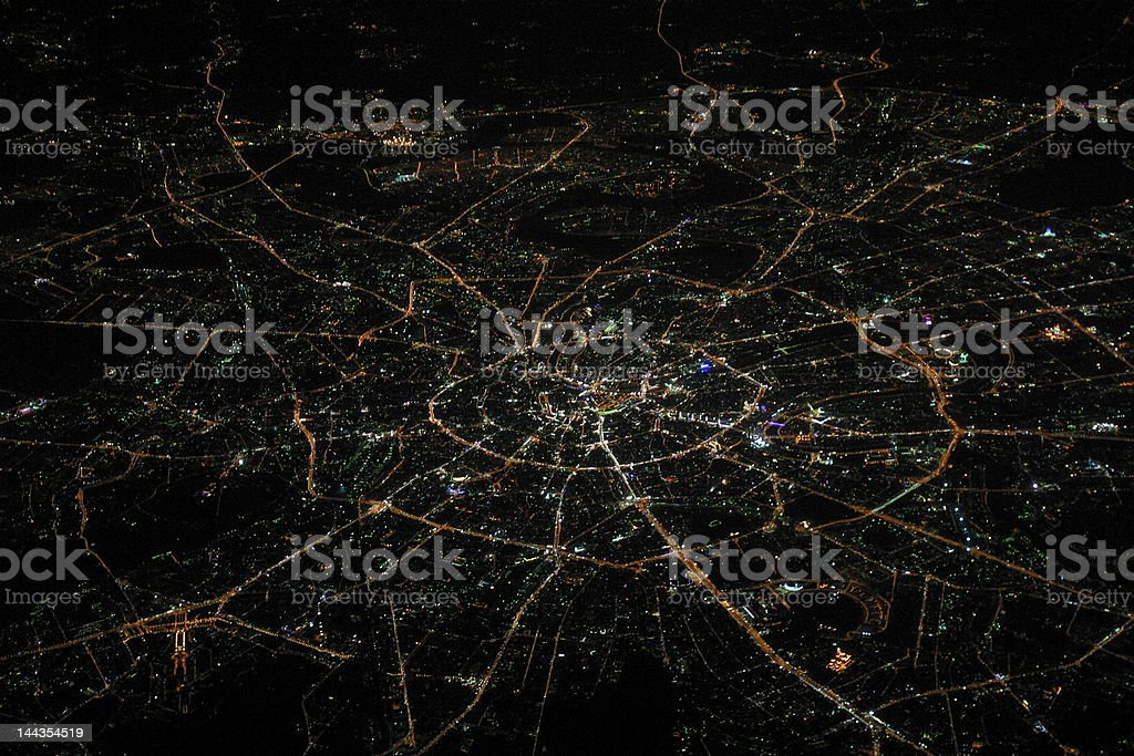 City of Moscow from above at night stock photo