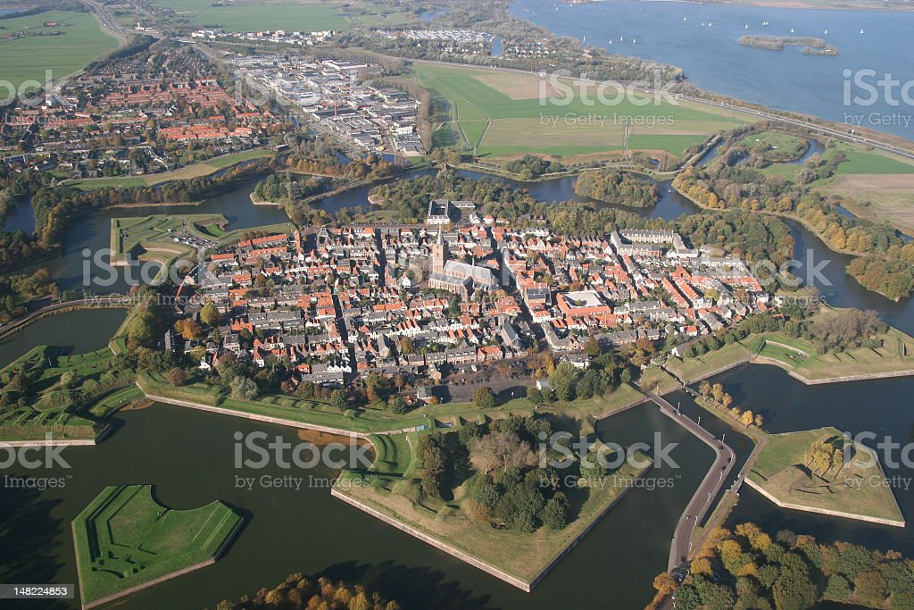City of Naarden from the air stock photo