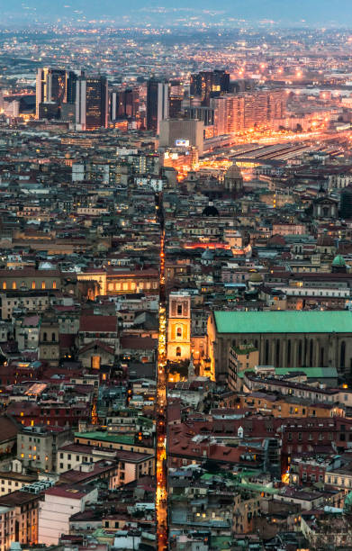 City of Naples downtown stock photo