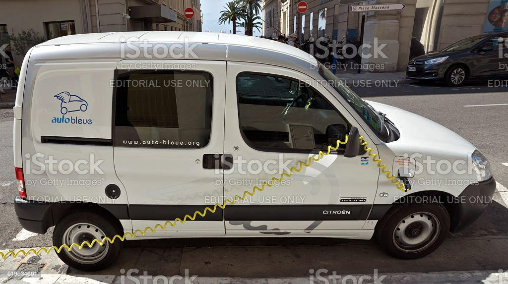 City of Nice - Electric drive car stock photo