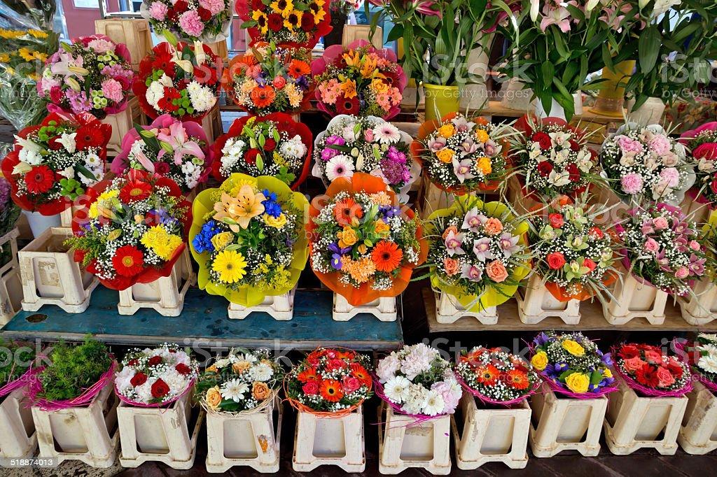 City of Nice - Flowers on the street market stock photo