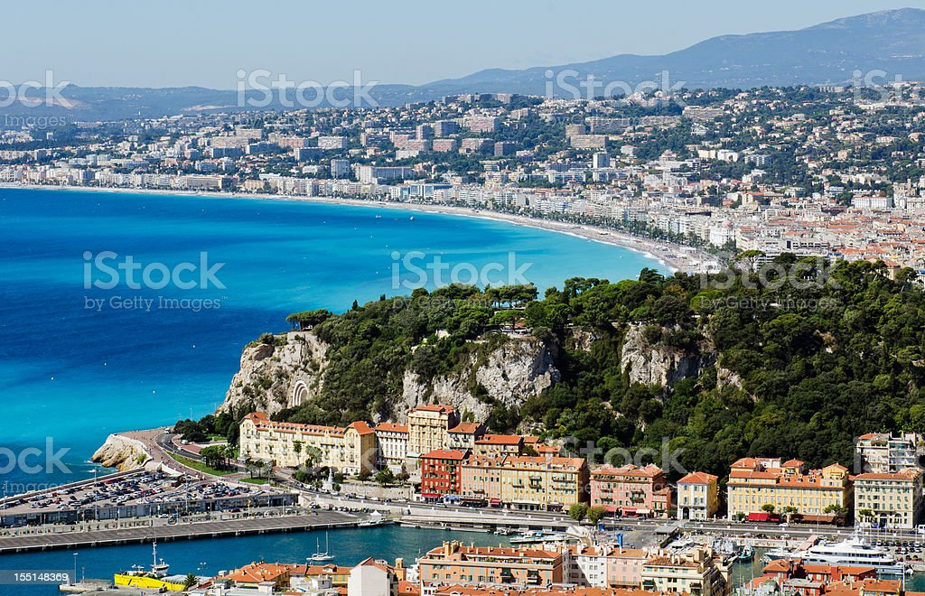 City of Nice overlooking bay under blue sky royalty-free stock photo