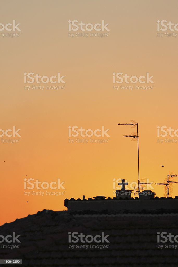 city of Nicosia roofs silhouette and antennas at dawn Cyprus royalty-free stock photo
