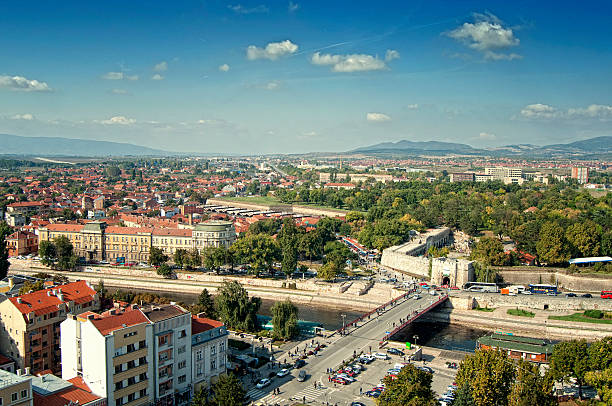 City of Nis, Serbia Cityscape, panoramic view of a city of Nis in Serbia. serbia stock pictures, royalty-free photos & images