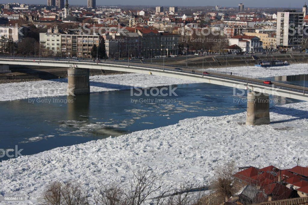 City of Novi Sad at winter sunny day - Serbia royalty-free stock photo