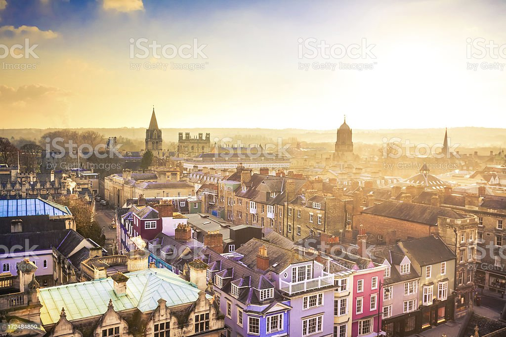 City of Oxford from Above at Sunset, United Kingdom stock photo