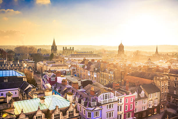 city of oxford from above at sunset, united kingdom - town stock pictures, royalty-free photos & images