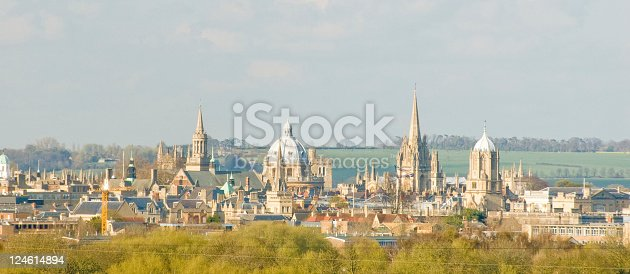 Panoramic view of the city of Oxford, England. Featuring Christ Church college, Racliffe camera and other spires.