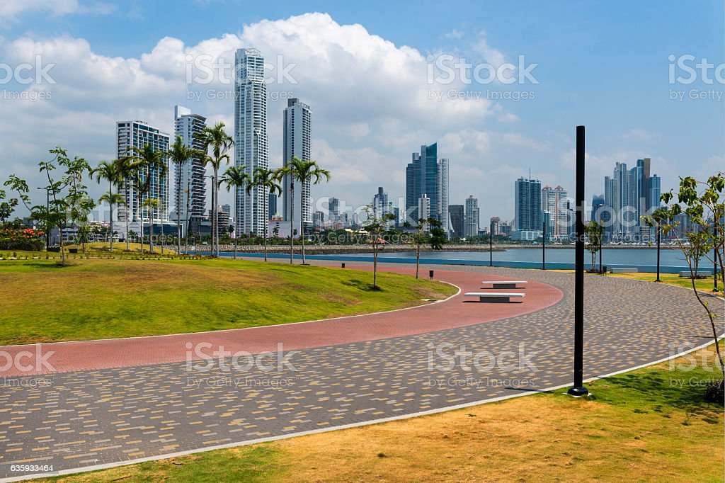 City of Panama, Panama, with a park and Palm Trees – Foto