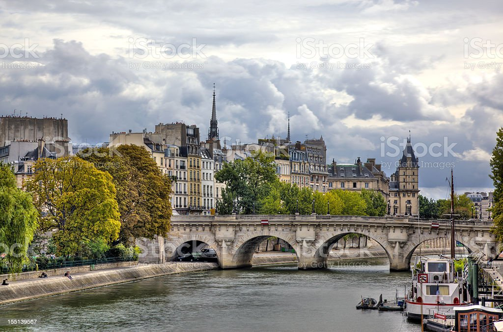 City of Paris and Seine River on Cloudy Day, France royalty-free stock photo