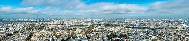 City of Paris panorama Panoramic view of Paris, view from high vista point. This is 100 MP stitched panorama image. Most of West to North arrondissements are visible. ile de france stock pictures, royalty-free photos & images