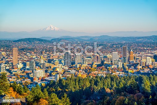 City of Portland Oregon and Mount Hood in Autumn