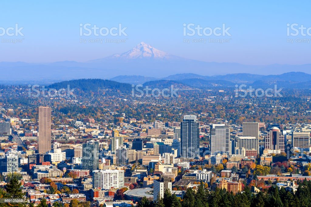 City of Portland Oregon and Mount Hood in Autumn stock photo