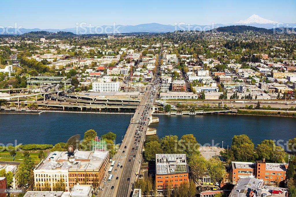 City of Portland Oregon and Willamette River stock photo
