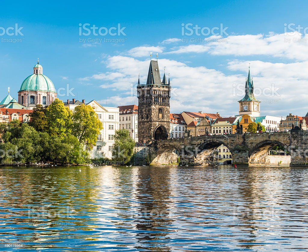 City of Prague and Charles Bridge Czech Republic stock photo