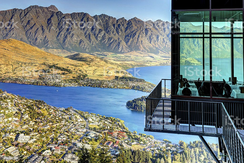City of Queenstown and the Remarkables Mounatins, New Zealand stock photo