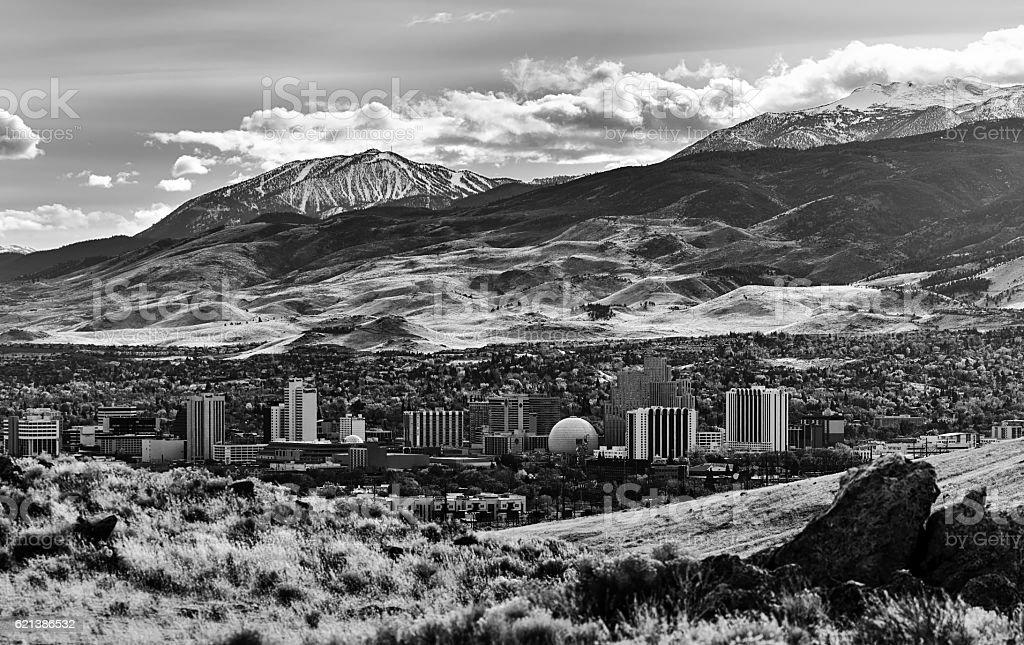 City of Reno Nevada winter landscape view in monochrome stock photo