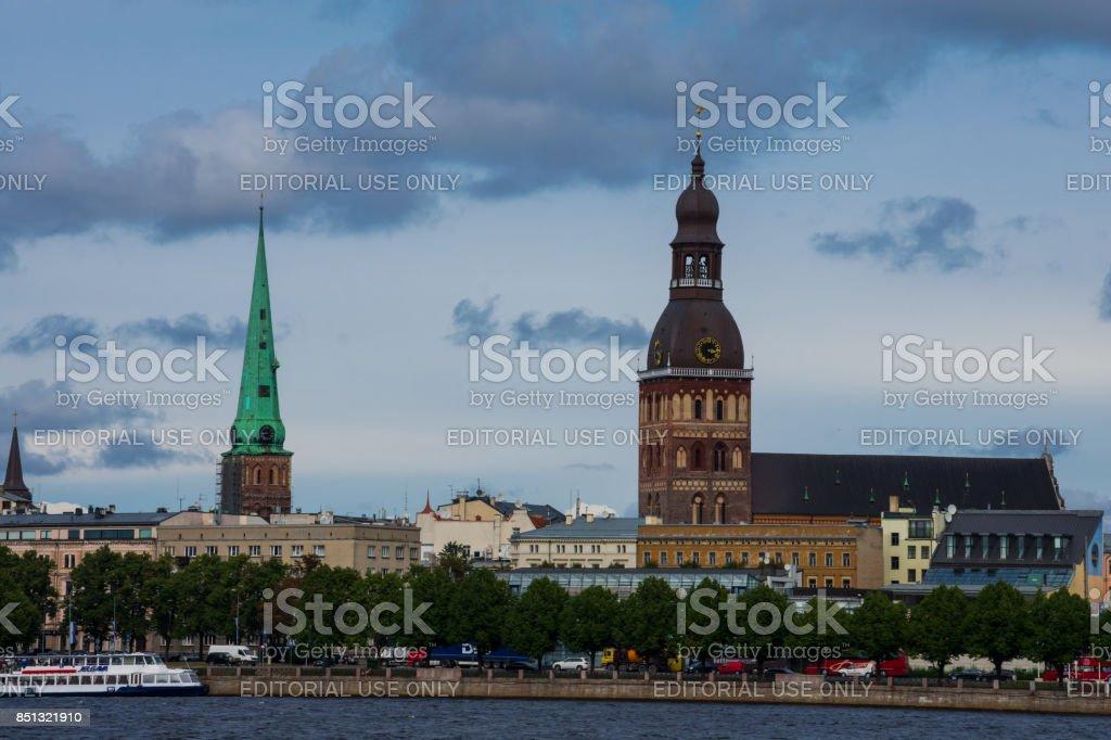 City of Riga, taken from Daugava River stock photo
