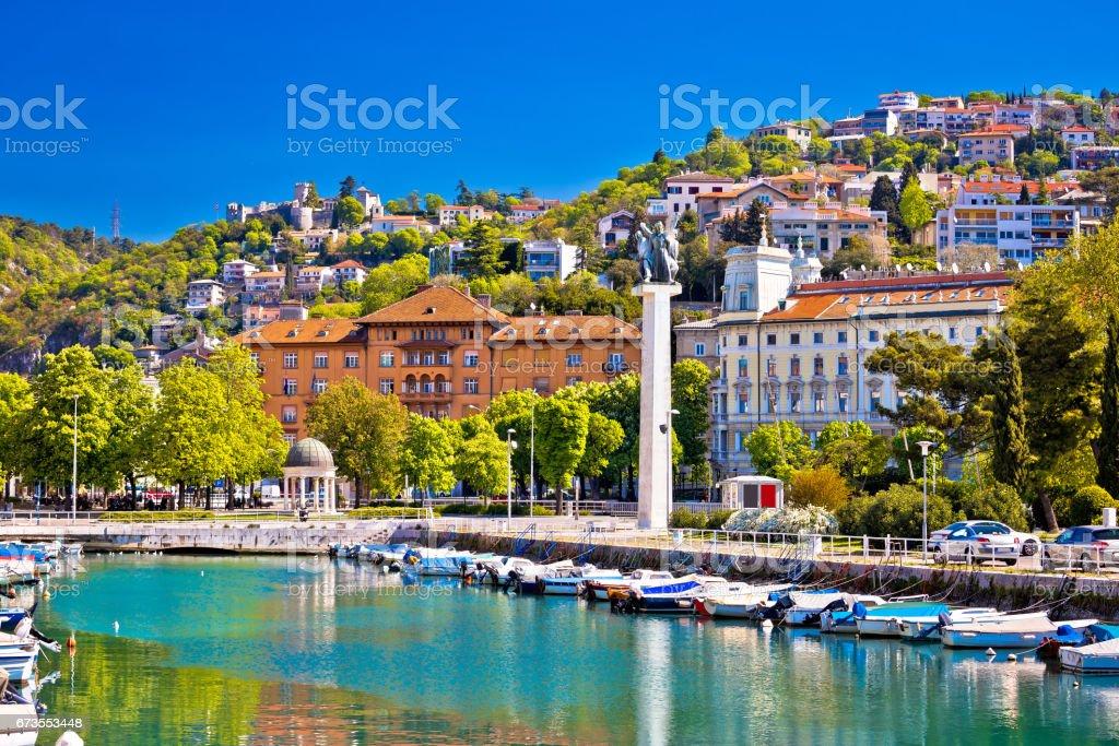 City of Rijeka Delta and trsat view, Kvarner bay, Croatia stock photo