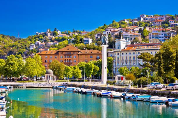 City of Rijeka Delta and trsat view, Kvarner bay, Croatia City of Rijeka Delta and trsat view, Kvarner bay, Croatia croatian culture stock pictures, royalty-free photos & images