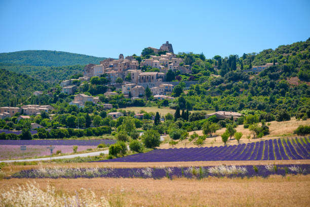 City of Saint-Saturnin-les-Apt on the hill with lavender fields in valley City of Saint-Saturnin-les-Apt on the hill with lavender fields in valley on summer day. Provence, France provence alpes cote d'azur stock pictures, royalty-free photos & images
