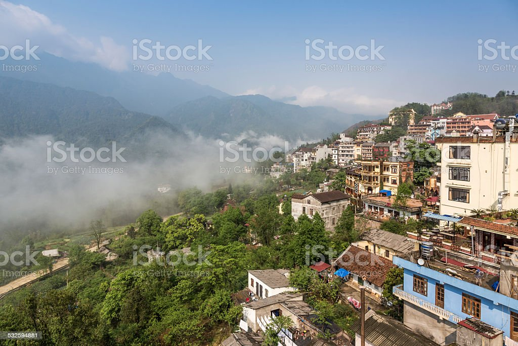 City of Sapa and Mountains in the Morning, Vietnam stock photo